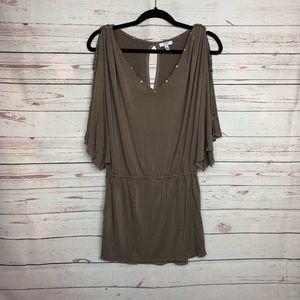 Cache Cold Shoulder Open Back Mini Dress  Size M